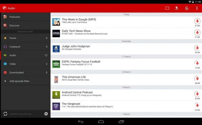 Вверх 5 Подкаст менеджер для Android телефона или планшетного